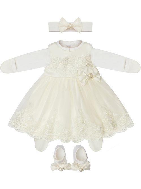 """Белое платье на выписку из роддома для девочки """"Бусинка"""" купить"""