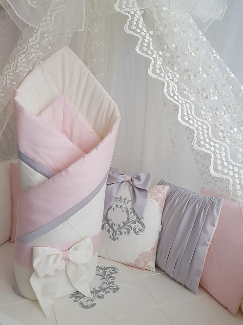 """Детский конверт одеяло для новорожденного на выписку""""Stella"""" pink"""