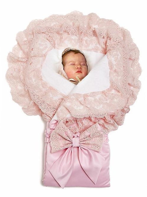 """Конверт для новорожденной девочки на выписку """"Милан""""  (розовый с розовым кружевом)"""
