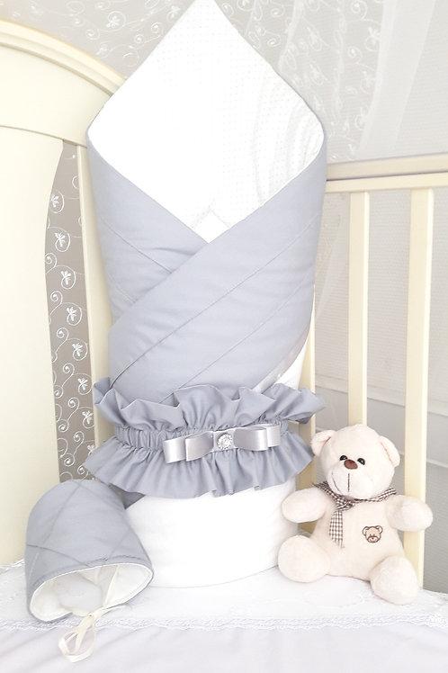 """Конверт-одеяло на выписку из роддома """"Plisse"""" grey"""