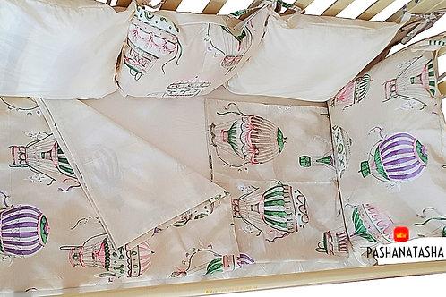 """Бортики в детскую кроватку для новорожденных """"На воздушном шаре"""""""