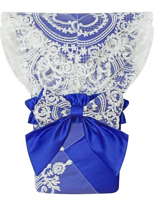 """Конверт-одеяло на выписку """"Роскошный"""" (синий с белым кружевом) без пледа"""