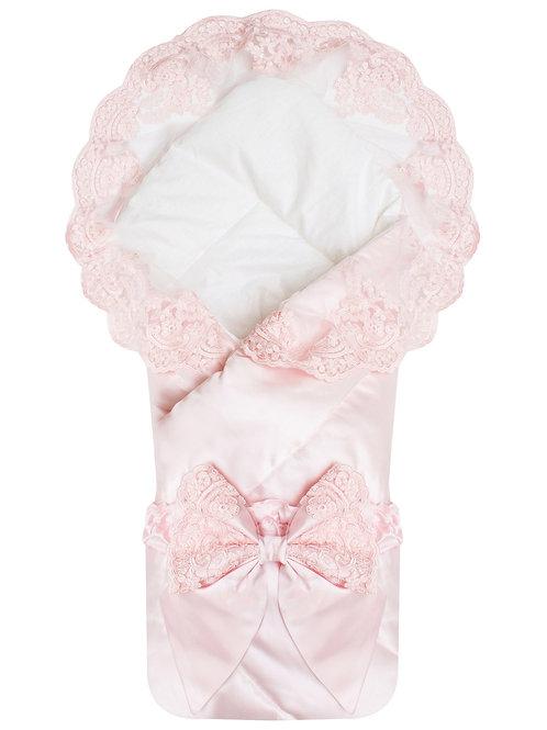 """Конверт-одеяло на выписку """"Венеция"""" АТЛАС (нежно розовый с розовым кружевом)"""