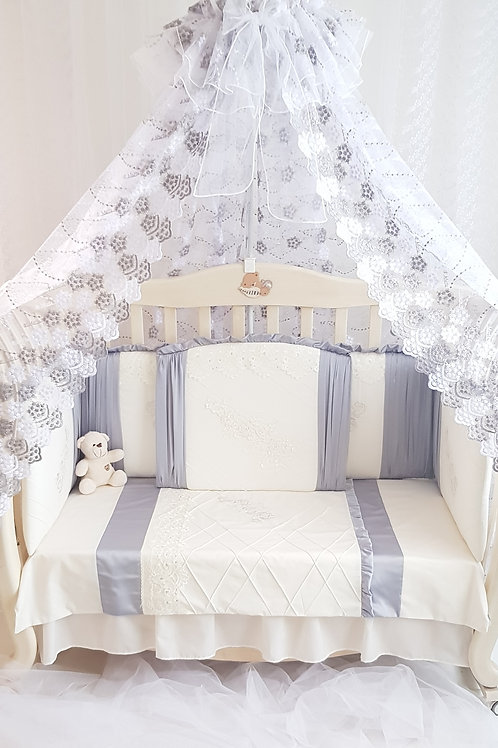 """Красивые бортики в кроватку """"Gracia grey"""""""