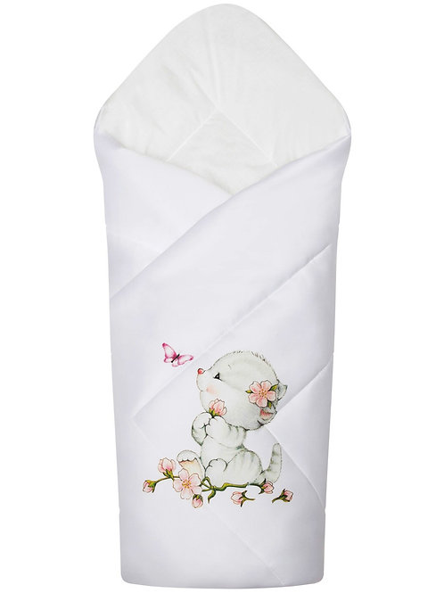 """Одеяло конверт для новорожденных на выписку """"Киска с бабочкой"""""""