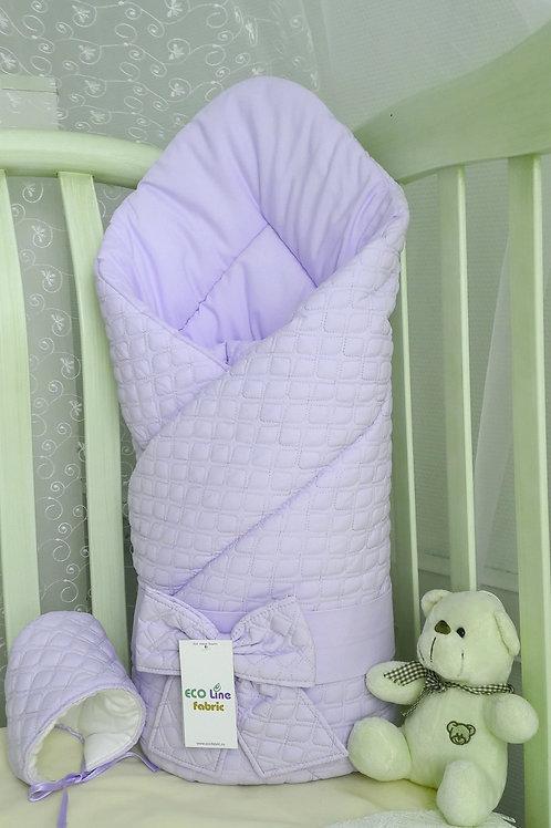 """Одеяло конверт для новорожденногона выписку """"Скандинавия"""" сиреневый фото"""