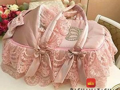 Розовая люлька переноска для новорожденного