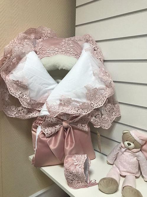 """Одеяло конверт для новорожденного на выписку """"Королевский""""  (розочка с розовым кружевом)"""