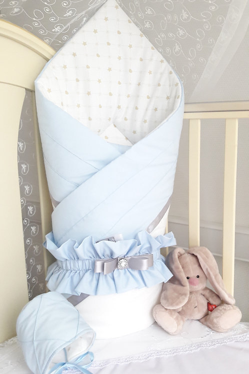 """Конверт-одеяло на выписку из роддома """"Plisse"""" blue"""