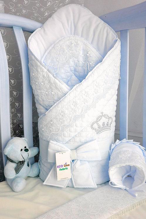 Красивый конверт на выписку для новорожденного Скандинавия люкс белый фото