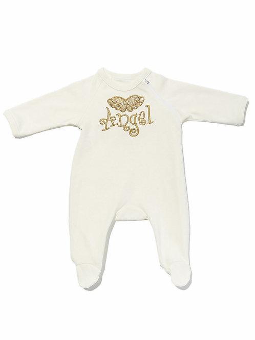 """Красивая одежда для новорожденных. Комбинезон с вышивкой и крылышками """"Ангел"""""""