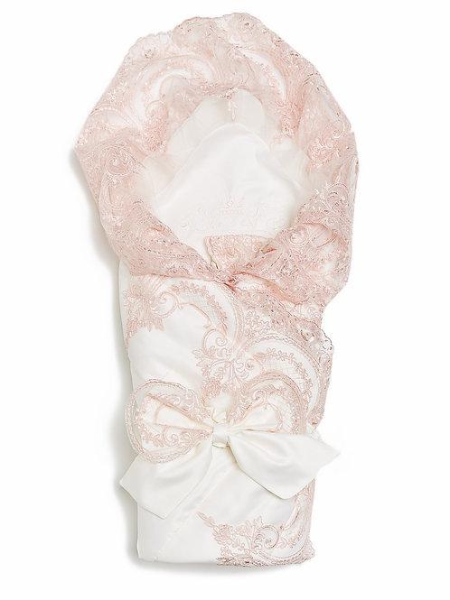 """Конверт-одеяло на выписку """"Роскошный"""" (молочный с розовым кружевом"""