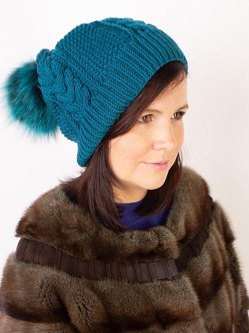 Купить вязаную шапку с помпоном ATLANTIC