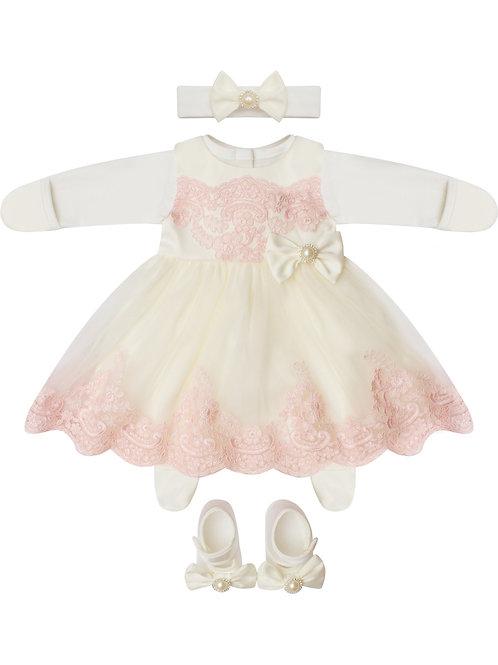 """Купить одежду для девочек для выписки """"Бусинка"""" (молочное с розовым кружевом)"""