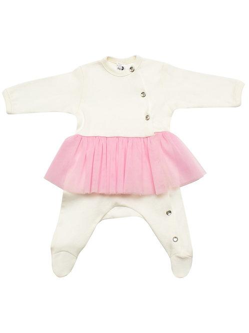 Боди с розовой юбкой из фатина для новорожденных