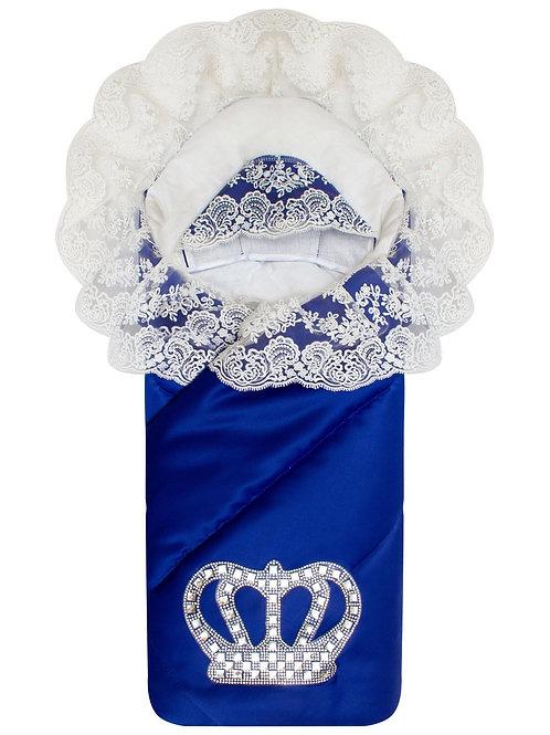 """Конверт-одеяло на выписку  """"Империя"""" синий с молочным кружевом и большой короной"""