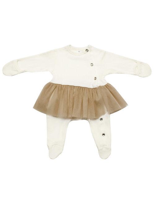 Боди с бежевой юбкой из фатина для новорожденных