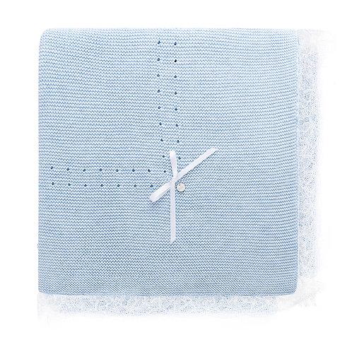 Купить вязаный плед для новорожденного голубого цвета