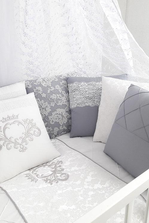 """Бортики подушки в кроватку для новорожденных """"Vinsent"""" grey"""