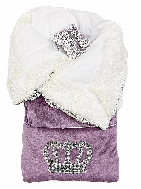 """Конверт-одеяло на выписку """"Императорский"""" (пыльная роза с молочным кружевом и большой короной на молнии)"""