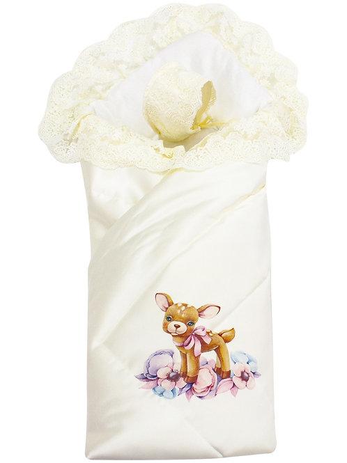 """Конверт одеяло с кружевом """"Оленёнок в цветах"""" купить"""