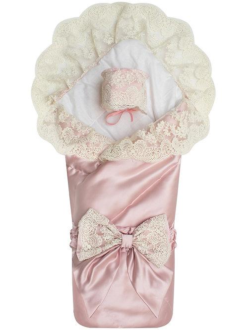 """Конверт-одеяло на выписку """"Неаполитания"""" утренняя роза с молочным кружевом"""