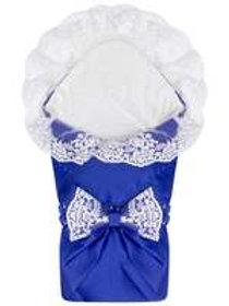 """Конверт-одеяло для новорожденного на выписку """"Венеция""""  (синий с белым кружевом)"""