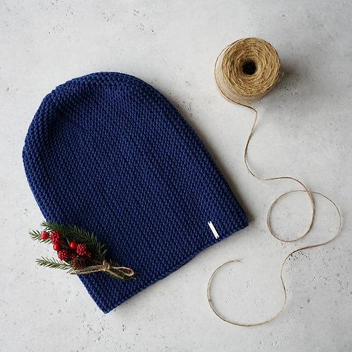 Купить женскую шапку синего цвета