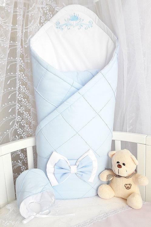 Конверт-одеяло на выписку из роддома  голубого цвета купить в Москве