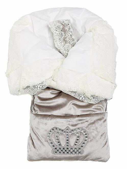 """Конверт-одеяло на выписку """"Императорский"""" (серый с молочным кружевом и большой короной на молнии)"""