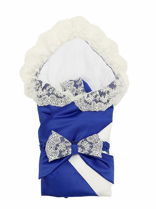 """Конверт-одеяло на выписку """"Лондон"""" (двухцветный молочно-синий с молочным кружевом)"""
