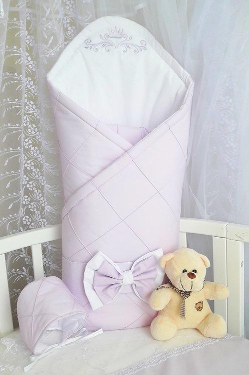 Конверт-одеяло на выписку из роддома сиреневого цвета фото