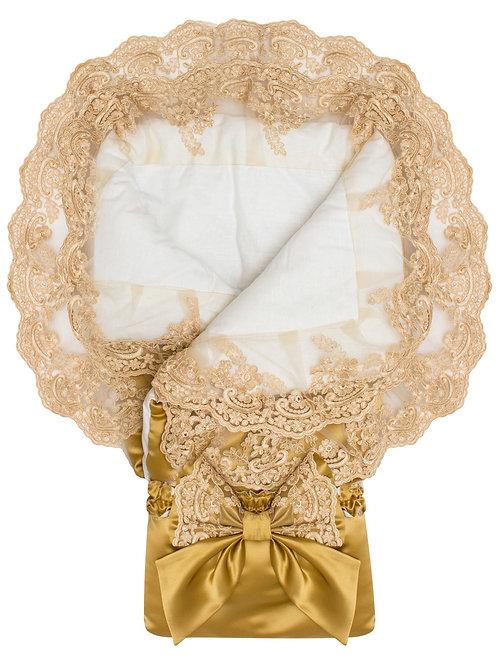 """Одеяло конверт для новорожденного на выписку """"Королевский""""  АТЛАС (золотой с золотым кружевом)"""
