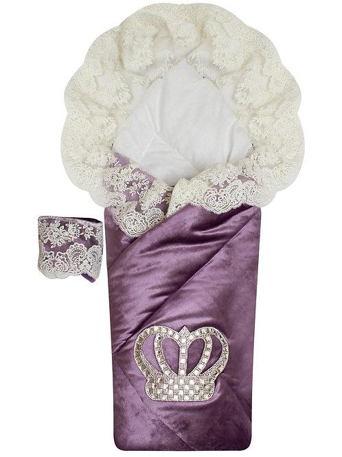 """Конверт-одеяло на выписку с короной """"Императорский""""  (пыльная роза с молочным кружевом и большой короной на липучке)"""