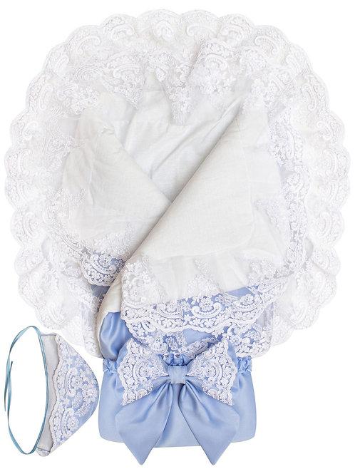 """Одеяло конверт для новорожденного на выписку """"Королевский""""  (голубой с белым кружевом)"""