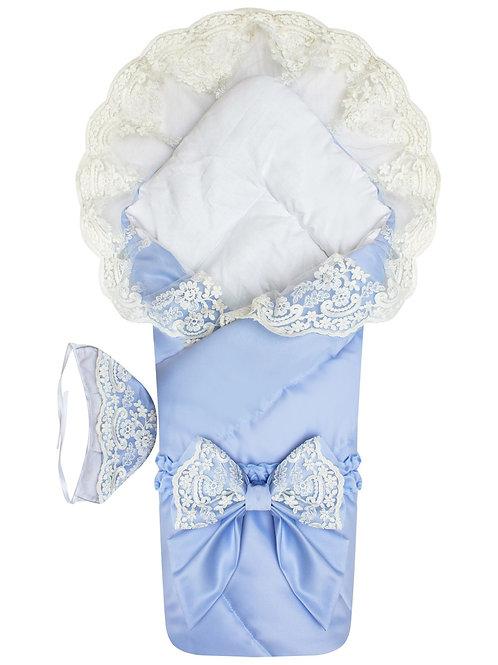 """Конверт-одеяло для новорожденного на выписку """"Венеция""""  (голубой с белым кружевом)"""