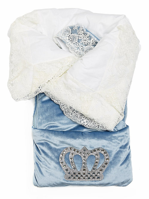 """Конверт-одеяло на выписку """"Императорский"""" (голубой с молочным кружевом и большой короной на молнии)"""