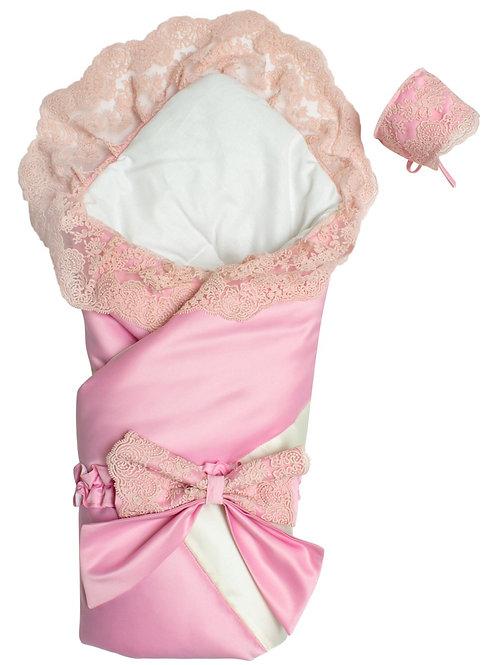 """Конверт одеяло на выписку из роддома """"Лондон""""  (двухцветный молочно-розовый с розовым кружевом)"""