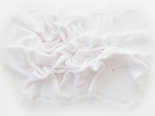 Белый вязаный плед из хлопка для новорожденного купить