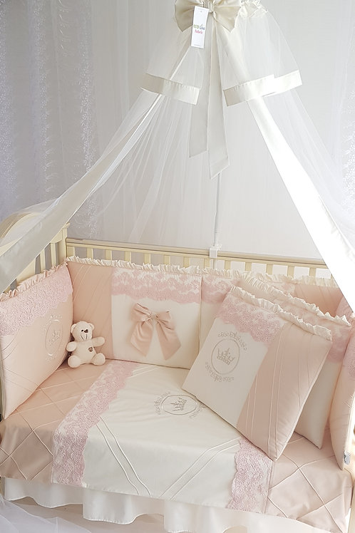 Бортики в кроватку для новорожденных персикого цвета купить в интернет-магазине www.pashanatasha.ru