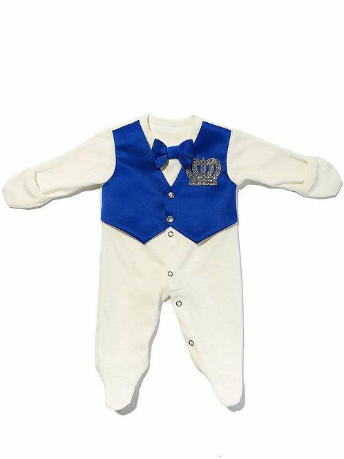 """Костюм для новорожденного Принц"""" комбинезон с синей жилеткой, бабочкой и стразами"""
