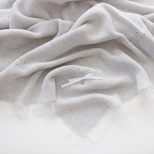 Купить вязаный плед серого цвета для новорожденного / Pashanatasha.ru