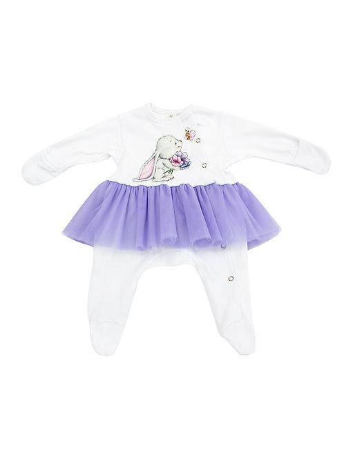"""Одежда для малышек девочек - боди на кнопках с фиолетовой юбочкой """"Зайка"""""""