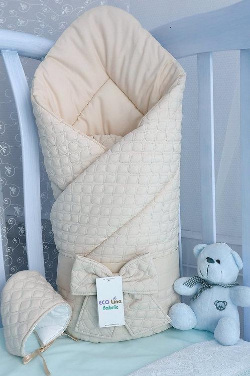 """Одеяло конверт для новорожденногона выписку """"Скандинавия"""" бежевый картинка"""