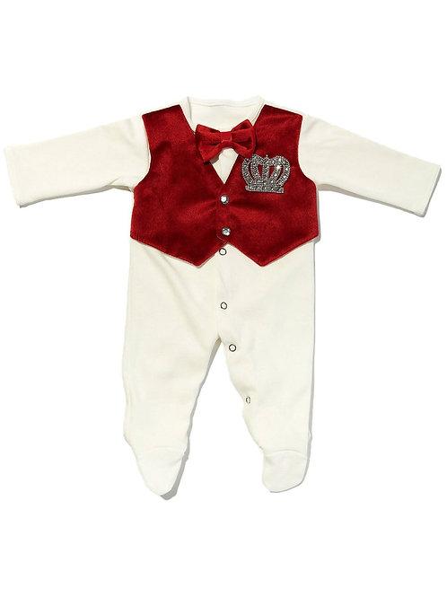 """Одежда на выписку для мальчика """"Принц"""" комбинезон бургундия с жилеткой (велюр)"""