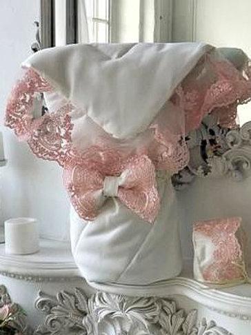 """Конверт-одеяло на выписку """"Венеция"""" (молочный с розовым кружевом) www.pashanatasha.ru"""