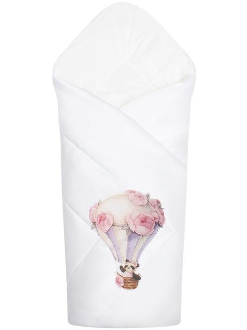 """Конверт-одеяло для новорожденного  """"Панда на воздушном шаре"""""""