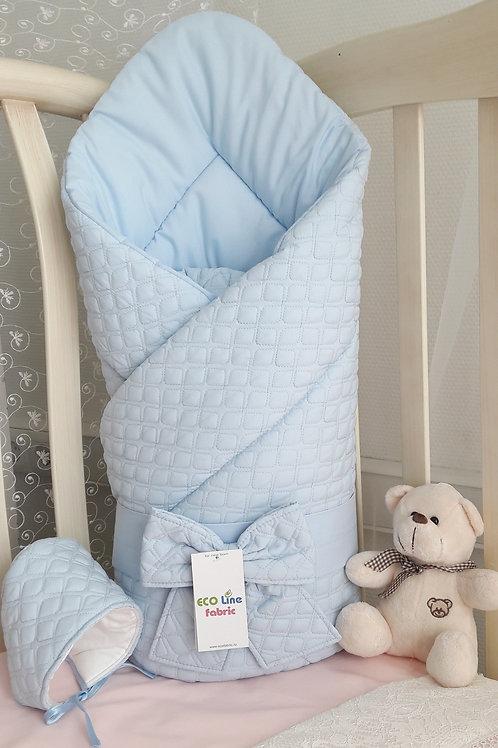 """Одеяло конверт для новорожденногона выписку """"Скандинавия"""" голубой картинки"""