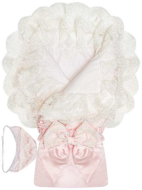 """Красивый конверт- одеяло на выписку для девочки """"Милан"""" АТЛАС (нежно-розовый с белым кружевом)"""