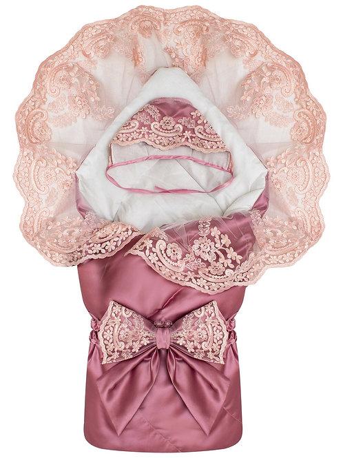 """Конверт-одеяло на выписку """"Венеция"""" (пыльная роза с розовым кружевом)"""